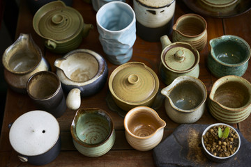 Various pottery cups for making tea