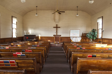 Inside an old country church.