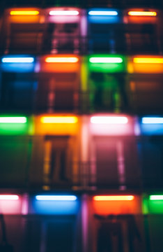 Blurred Colorful Lights on a Building