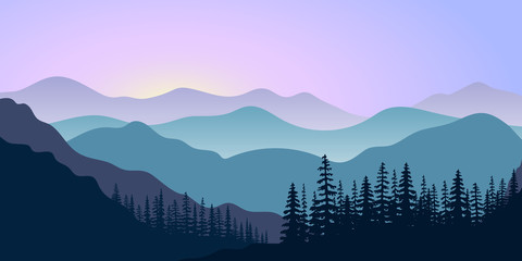 Acrylic Prints Purple landscape with silhouettes of mountains and forest at sunrise. Vector illustration