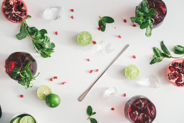 Fresh summer ingredients on white table