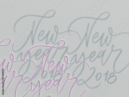 Happy New Year 2018- phrase. Holiday lettering illustration. Cut out ...