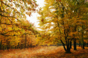Autumn landscape, oil paintings, fine art