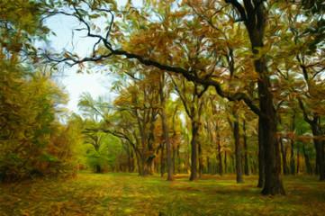 Autumn landscape, oil paintings, fine art
