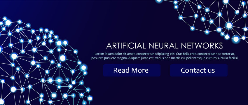 Artificial neural networks banner. A form of connectionism ANNs. Computing systems inspired by the biological brain networks