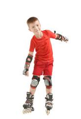 Funny boy on roller skates against white background