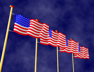 Raw of flags of the USA on the flagpoles
