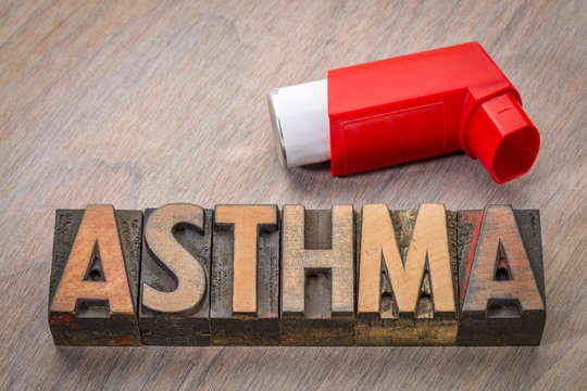 asthma word abstract in wood type