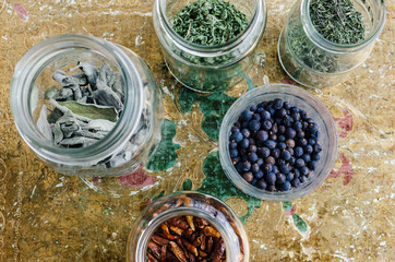 Herb and spices in mason jars