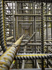Interior of Reinforcing Steel Cage for Reinforced Concrete Bridge Pier
