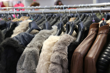 fur and leather outfits for sale in the boutique