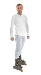 Man on roller skates against white background
