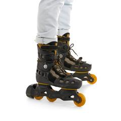 Legs of man on roller skates against white background