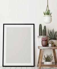 Mock up poster with decoration plant, 3d illustration, 3d render