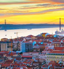 Fototapete - Lisbon view at sunset, Portugal