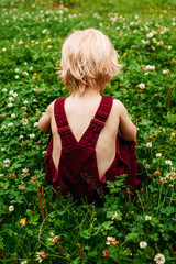 Back view of small child wearing dungarees sitting in a clover field.