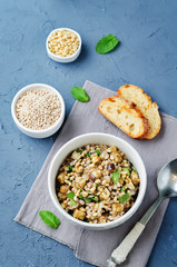 Roasted eggplant pine nuts mint barley salad