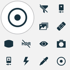 Photo Icons Set. Collection Of Dartboard, Flash, Camera Rear And Other Elements. Also Includes Symbols Such As Apparatus, No, Thunder.