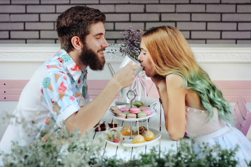 Beautiful hipster couple enjoy in their lovely moment
