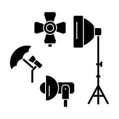 photo light studio  icon, vector illustration, black sign on isolated background
