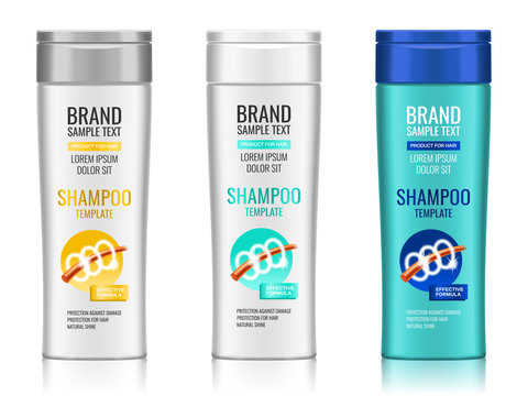 Cosmetic packaging, realistic plastic shampoo or shower gel bottle template with different design of packaging, 3d illustration. Vector