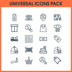 Ecommerce Icons Set. Collection Of Rich, Pannier, Delivery And Other Elements. Also Includes Symbols Such As Discover, Marker, Paid.