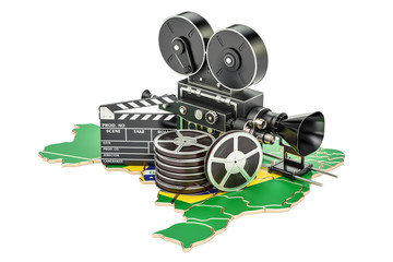 Brazilian cinematography, film industry concept. 3D rendering