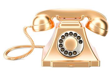 Golden retro phone, 3D rendering