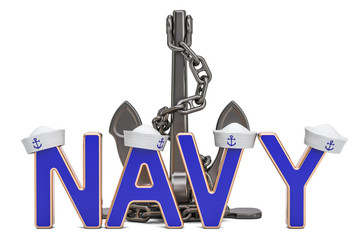 Navy concept with anchor, 3D rendering