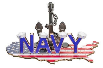 Navy Day in USA concept, 3D rendering