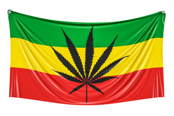 Rasta Flag, Cannabis leaf on Rastafarian flag hanging on the wall, 3D rendering