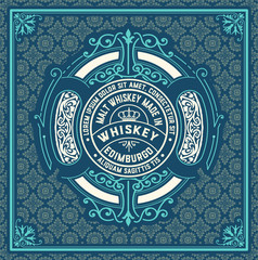 Whiskey label vintage in western style