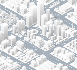 Urban district of the city in isometric landscape town infrastructure of houses, streets and buildings