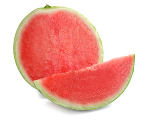 Cut ripe watermelon on white background