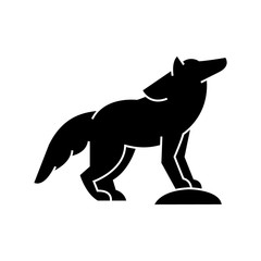 wolf  icon, vector illustration, black sign on isolated background