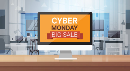 Cyber Monday Big Sale Message On Computer Monitor Over Modern technology Store Background Shopping Banner Design Vector Illustration