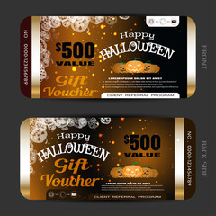 Vector gift voucher to Happy Halloween holiday with group of pumpkin, metal stripes, sparkles on the gradient dark brown background.