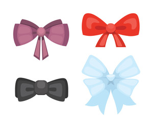 Cartoon cute gift bows with ribbons. color butterfly tie