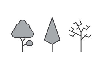 Set of vector line Trees. Forest creative icons