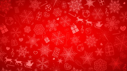 Background of snowflakes and Christmas symbols