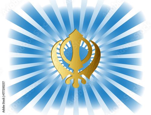 The Main Symbol Of Sikhism Sign Khanda Made Of Gold Metal
