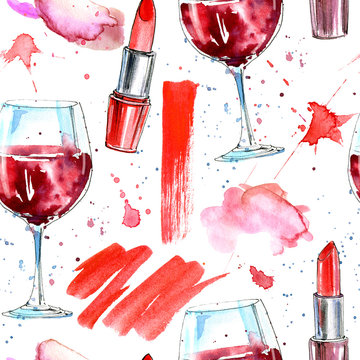 Seamless pattern of a red lipstick, wine and splashes. Fashion,cosmetics and beauty image.Watercolor hand drawn illustration.White background.