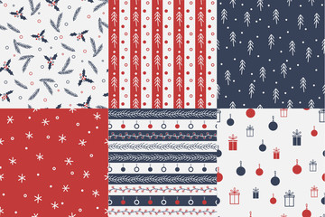 Vector Set of seamless christmas patterns.