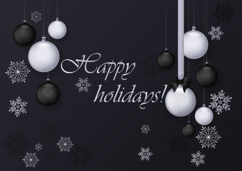 Happy holidays greeting card with silver and black balls decoration. Premium luxury chrome decoration background for holiday greeting card.