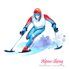 Watercolor illustration. Alpin Skiing. Disability snow sports. Disabled athlete riding by ski on snow. Active people. Man. Disability and social policy. Social support. Extreme.
