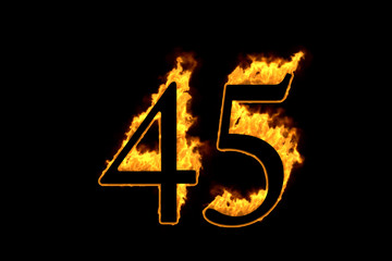 Fire number 45 isolated on black background, 3d illustration