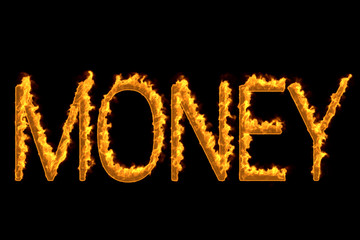 Fire word 'Money' isolated on black background, 3d illustration