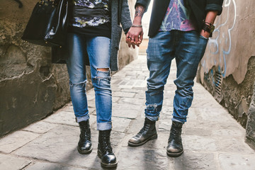 Urban and Rebels, Teen Couple with Ripped Denim Jeans