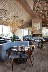 Interiors of luxury upscale restaurant