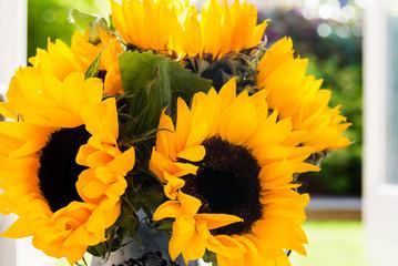 Yellow Sunflower Bouquet in Garden Jar